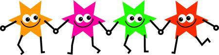 estrella caricatura: cuatro colores de dibujos animados estrella formas tomarse de las manos a la unidad  Foto de archivo