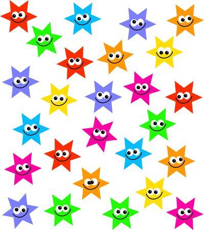 estrella caricatura: multitud de coloridos dibujos animados estrella se enfrenta forma aislada en blanco  Foto de archivo