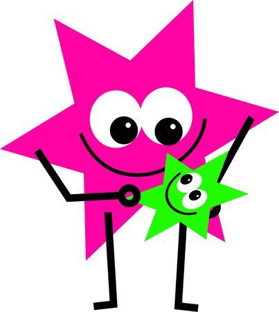 estrella caricatura: forma de estrella de dibujos animados celebraci�n poco aislados en blanco