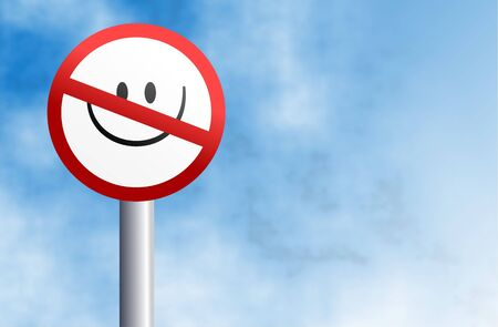 censure: no smiling allowed in this town - signpost against sky background