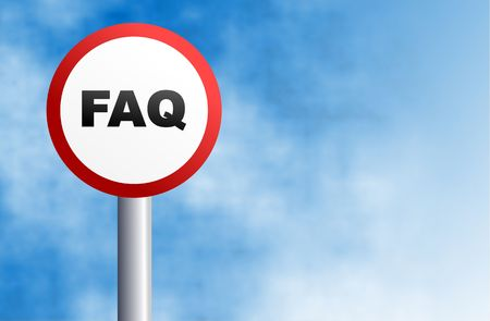 inquiry: round street sign with the word FAQ written accross it