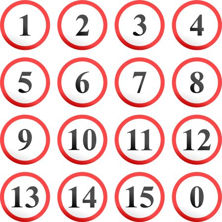 collection of round number road signs isolated on white Stock Photo