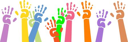 helping children: childlike hand prints waving in the air Stock Photo