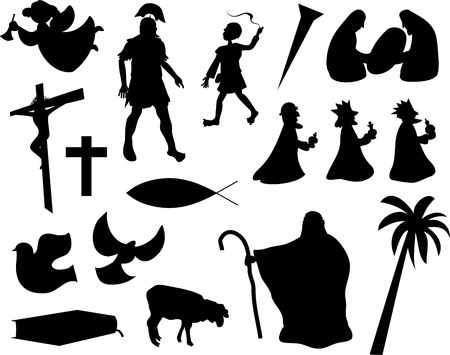 shepherd: collection of christian related silhouette icons isolated on white Stock Photo