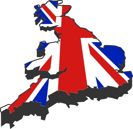british isles: map and flag of the british isles Stock Photo