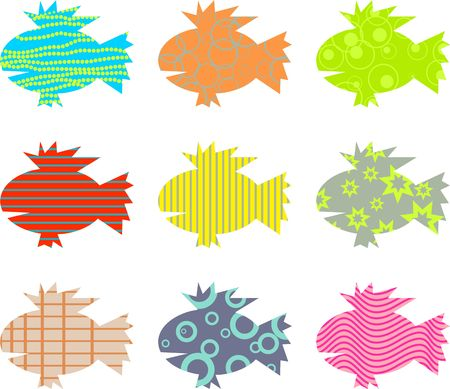 patterned: artistic abstract patterned fish wallpaper background design Stock Photo