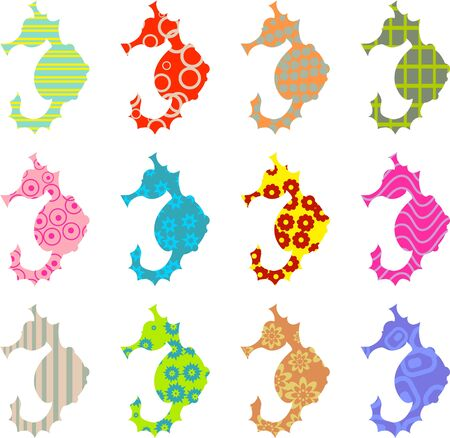 colourful abstract patterned seahorse wallpaper background design photo