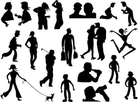 silhouette collection of a variety of people in different poses isolated on white photo