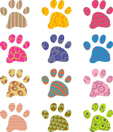 animal tracks: artistic abstract patterned paw wallpaper background design