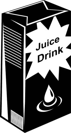 refreshment: black and white drawing of a carton of juice