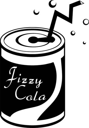 canned drink: isolated canned fizzy soda drink with straw and bubbles