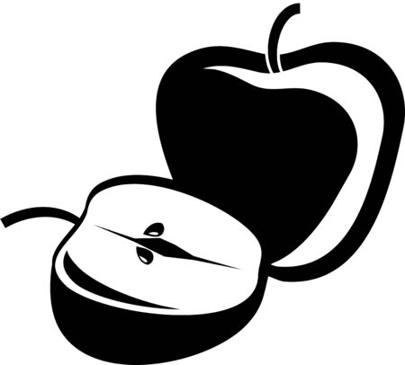 simple drawing of a whole and half an apple isolated on white Stock Photo - 3379132