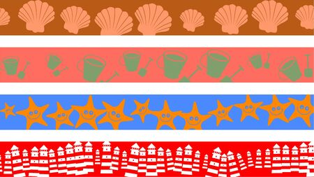 periferia: gruppo di quattro decorativi astratti spiaggia di frontiera disegni e modelli