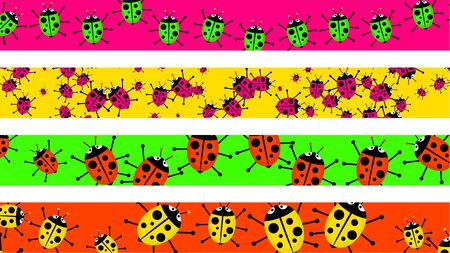 set of four decorative and colourful ladybug beetle page borders photo