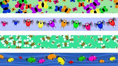 bordure de page: s�rie de quatre cute animal cartoon page fronti�re dessins  Banque d'images