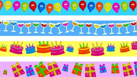 set of four birthday party celebration page border designs