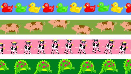 set of four cute animal page border designs Stock Photo