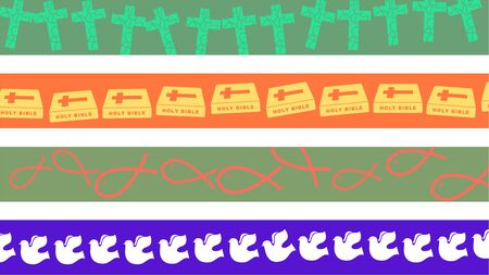 set of four Christian symbol page border designs photo