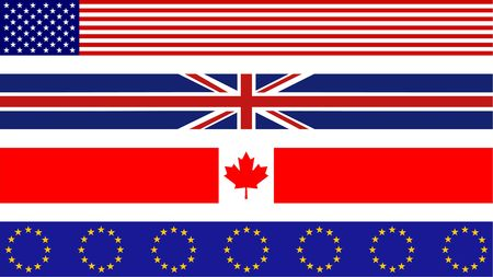 set of four flag page border designs including usa, uk, canada and europe photo