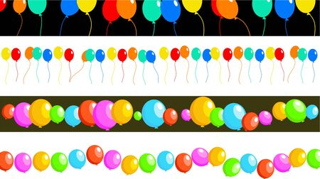 set of four birthday party balloon page border and banner designs photo