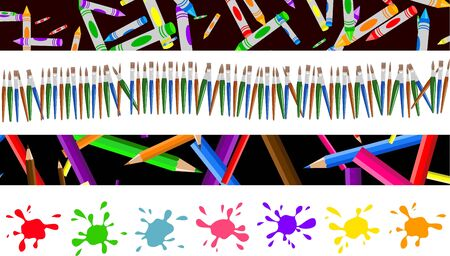 arty: set of four colourful decorative arty page borders and banners