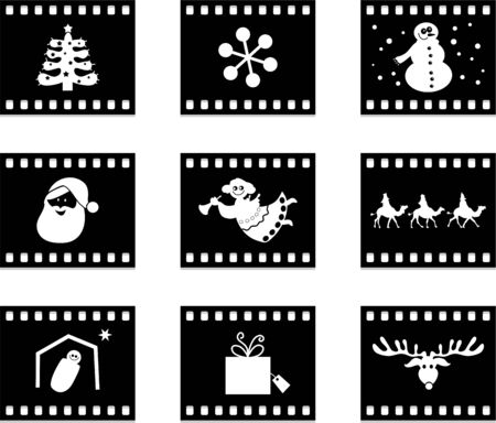 set of six film negative style buttons containing Christmas icons photo