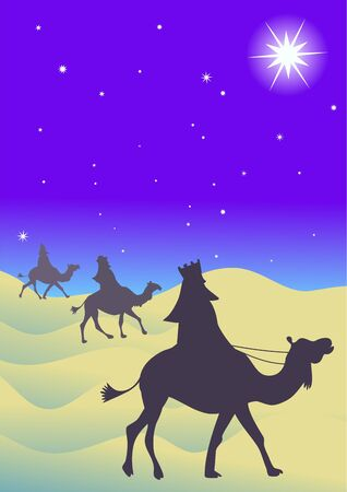following: the three wisemen follow the star of David in the east to find the Messiah
