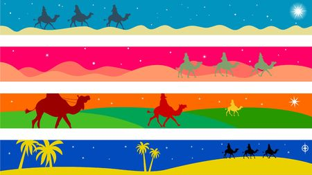 wisemen: set of four colourful journey of the magi Christmas page border and banner designs