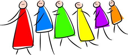 group of colourful cartoon characters following each other along