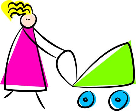whimsical drawing of a mother pushing buggy photo