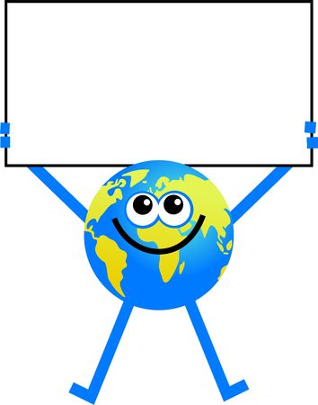 cartoon frame: conceptual globe character holding a blank sign Stock Photo
