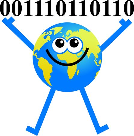 up code: conceptual cartoon globe holding up binary code digits
