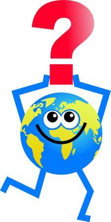 tierra caricatura: personaje de dibujos animados mundo la celebraci�n de un signo de interrogaci�n  Foto de archivo