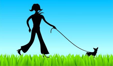 dog walking: silhouette of a young woman walking a chihuahua dog