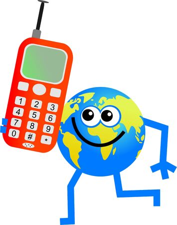 interact: cartoon globe man communicating on a mobile telephone Stock Photo