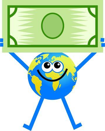 fund world: cartoon globe man holding up a dollar banknote
