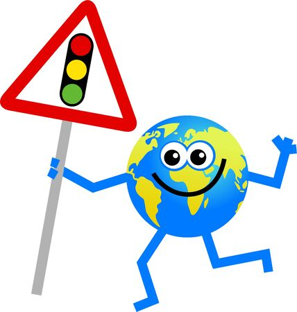 international internet: cartoon globe man holding a traffic lights sign