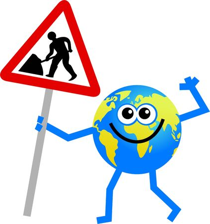 road works: cartoon globe man holding a road works warning sign