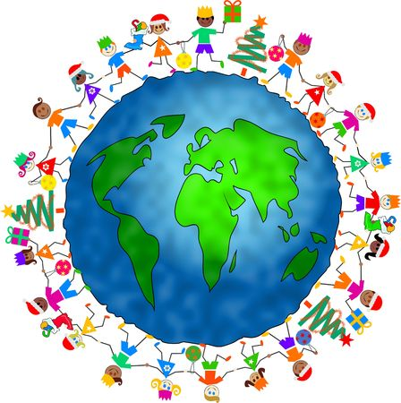 group of diverse children celebrating Christmas holding hands around the globe together Stock Photo
