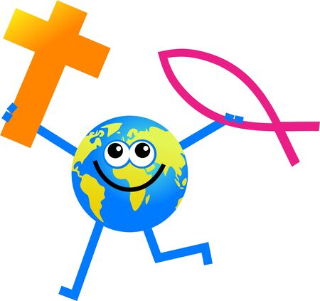 christian faith: cartoon globe man holding Christian faith symbols