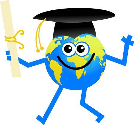 cartoon globe man who has just graduated photo