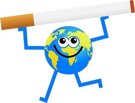 cigaret: cartoon globe man holding up a giant cigarette