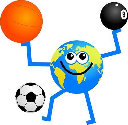 eightball: cartoon globe man holding a basketball, eightball and kicking a soccer ball