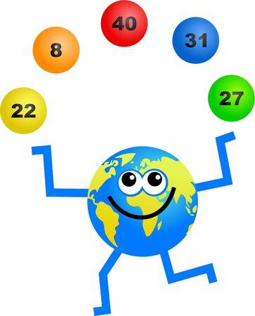 chances are: a cartoon globe man juggling lottery balls Stock Photo