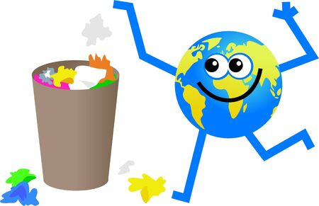 wastepaper basket: cartoon globe man putting litter in the waste basket