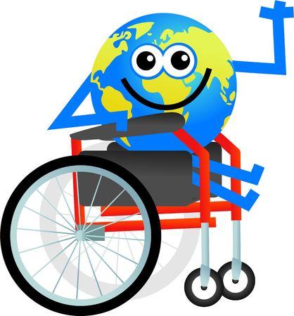 cartoon wheelchair: cartoon globe man sitting in a disabled wheelchair