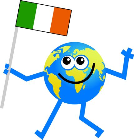 world globe man holding the irish flag. Stock Photo - 3540272