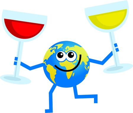 cartoon world globe man holding a glass of red and white wine Stock Photo - 3540268