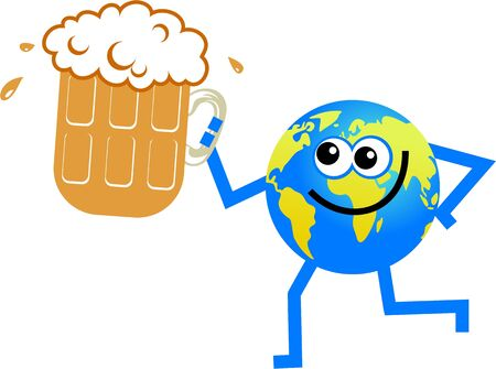 frothy:  world globe man holding a glass of frothy beer
