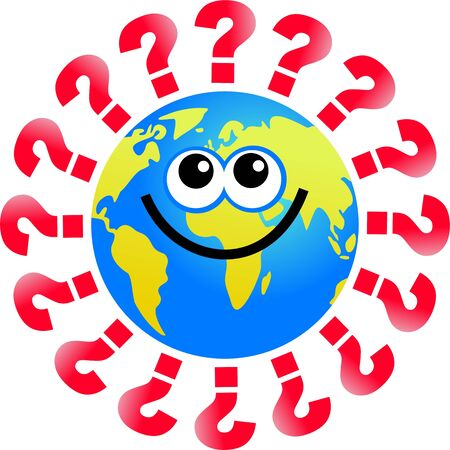 world globe man surrounded by questions Stock Photo - 3545099